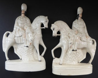 HUGE PAIR of Antique Victorian STAFFORDSHIRE Figurine. Two Kilted Scotsman on Horseback. 15 inches height. Great Display Piece