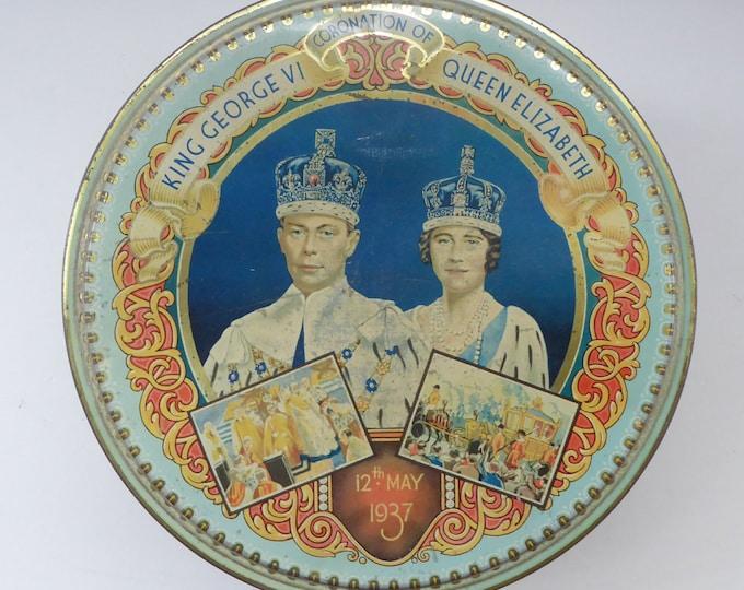 HUGE Vintage 1930s Co-op Commemorative CORONATION  Biscuit Tin for George VI and Queen Elizabeth