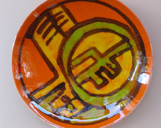 1960s POOLE Shallow Dish or Bowl. Fantastic Abstract Design by Carole Cutler. Diameter 8 inches