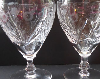 FOUR EDINBURGH CRYSTAL 1940s Claret Glasses. Each with stylish Older Thistle and Flowers Pattern