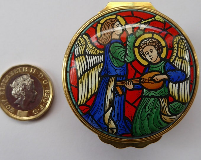 Vintage Halcyon Days Enamels Christmas Box. Stained Glass Design Showing Angels. Excellent Condition