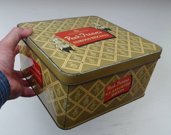 1950s LARGE Peek Frean's Famous Biscuits Tin with Chefs Motifs