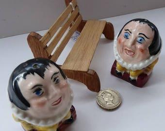 Strange Little Vintage Cruet Set. Novelty Ceramic Elizabethan Court Figures Sitting on a Wooden Bench