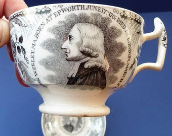 Antique JOHN WESLEY Cup & Saucer / Tea Bowl. Commemorative Plate with Image of Centenary Hall, Mission House, London; c 1839