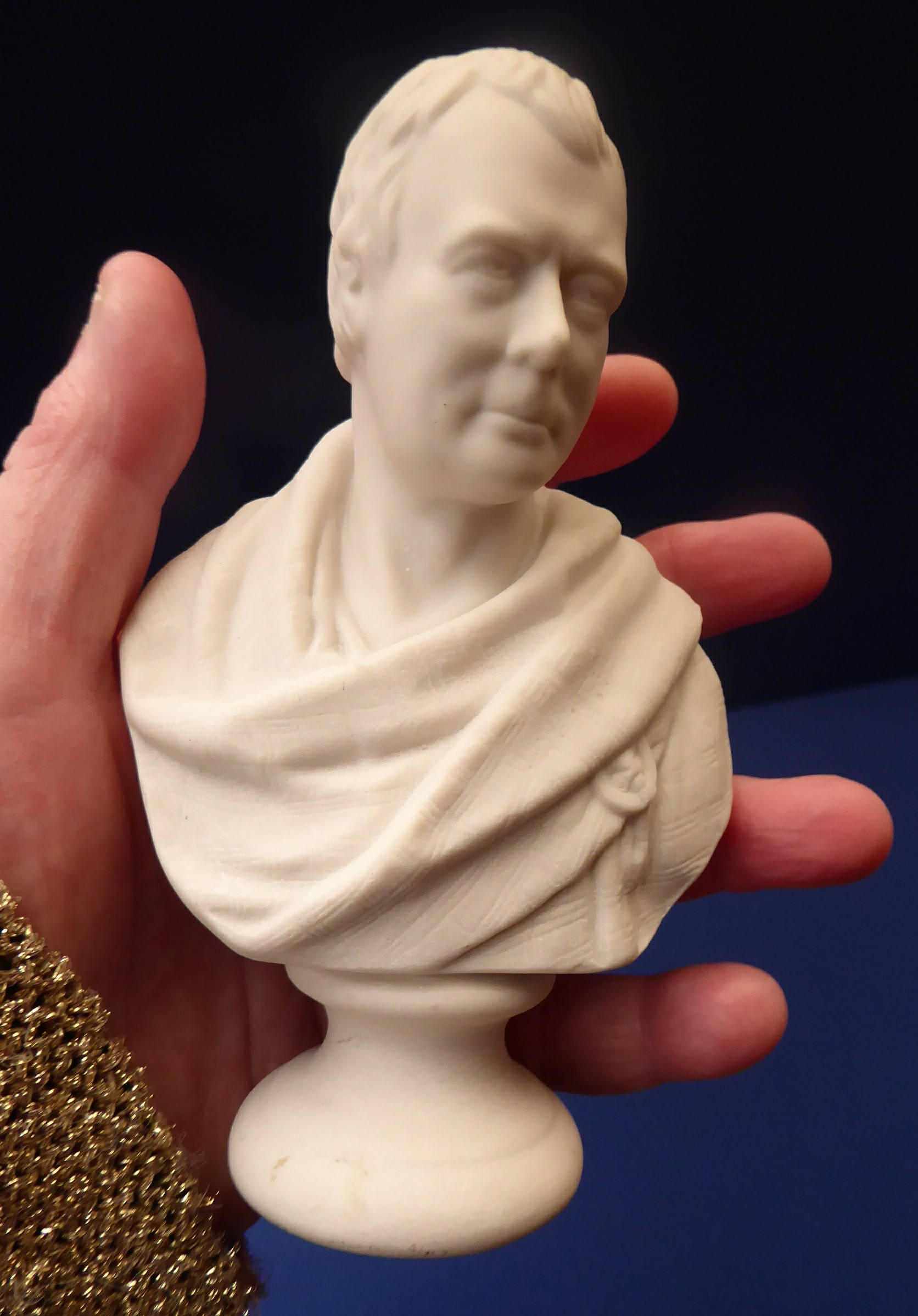 Antique Miniature W H  Goss Parian Bust of Sir Walter Scott, c 1880