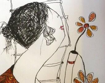 PAT DOUTHWAITE (1939 - 2002). Original Hand Coloured Lithograph. Woman Smelling Flowers  / Bird Vase
