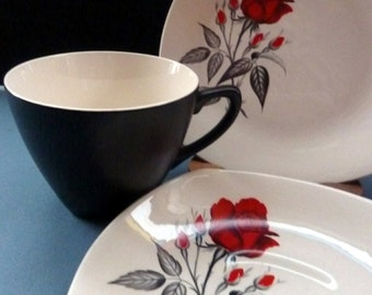 Pretty 1960s Midwinter TRIO - Cup, Saucer & Side Plate. Red Rose Motif. CARMEN Pattern