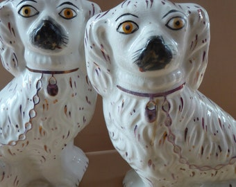 Antique Pair of Staffordshire Dogs Chimney Spaniels / Wally Dugs; with yellow painted eyes, c1880s