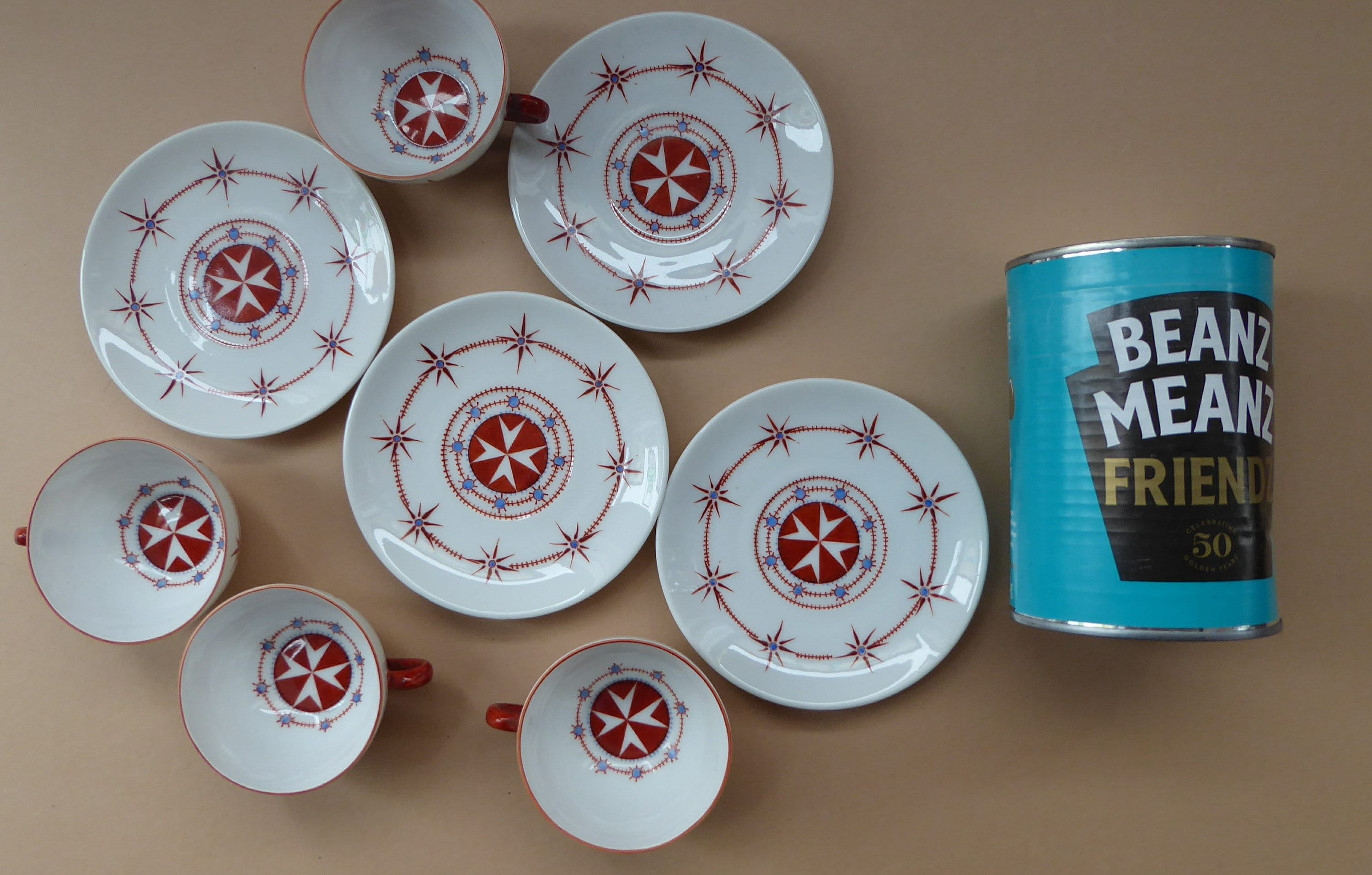 Maltese Cross Cups & Saucers  Hand Painted Decoration on MZ