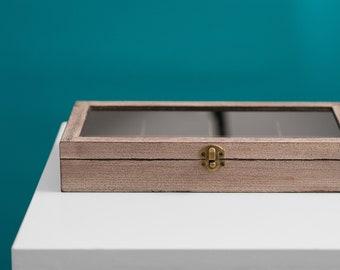Bonus Items Glass Top Lid 72 Ring Grey Jewelry Sales Display Box Storage Case
