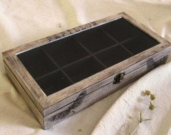 Butterflies wooden tea box, rustic tea box, compartment jewelry box, stones display, collectors box , box glass lid, under 50 tea bags box