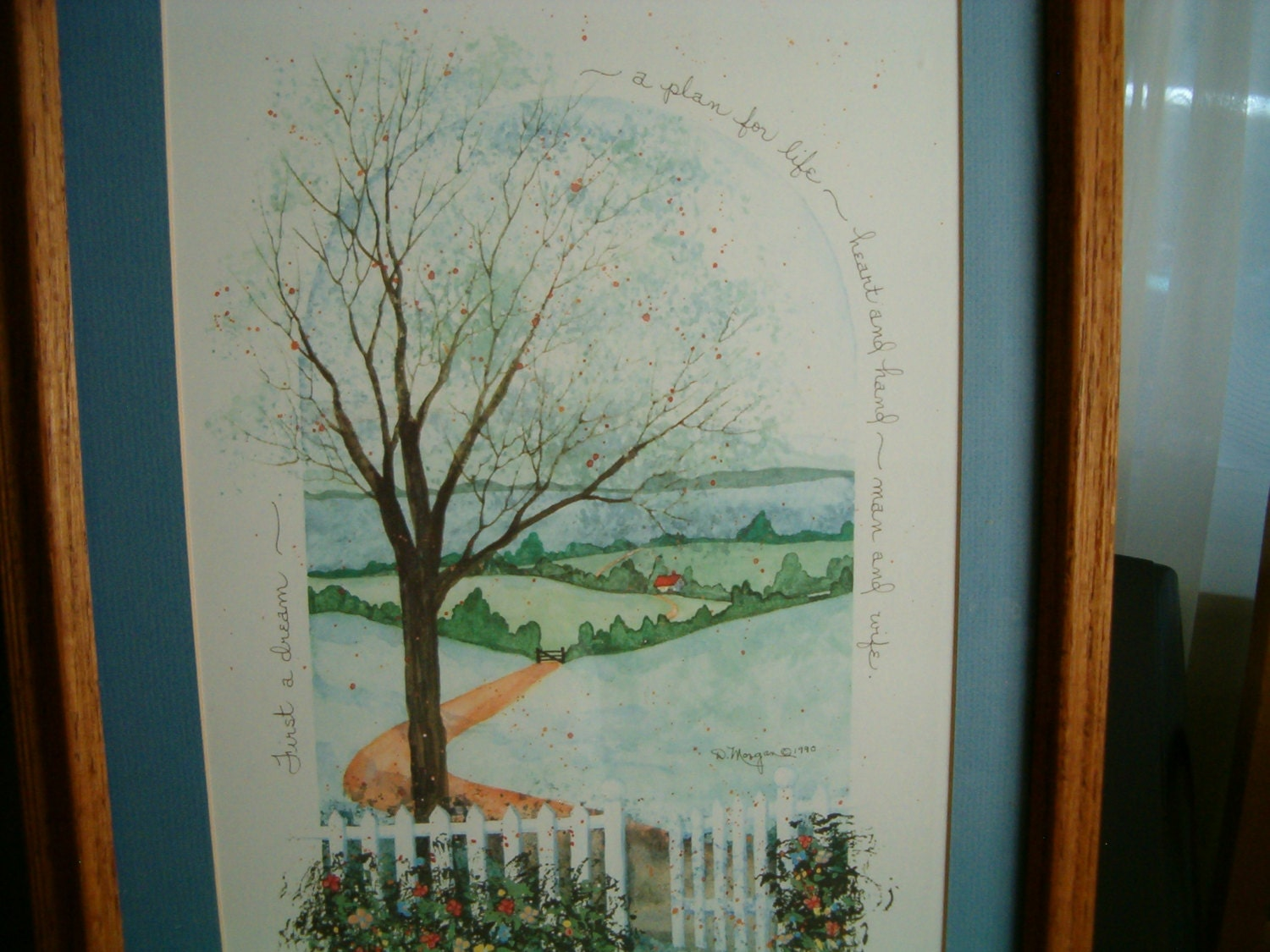 Vintage Wall Art Country Picture With Poem Wedding Gift First A