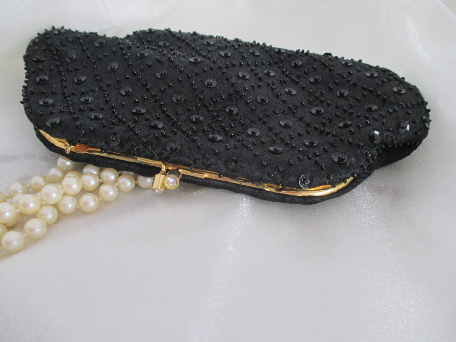 Vintage Evening Clutch, Black Beaded Purse, Black Clutch, Evening Purse,  Black Purse, Bridal Clutch, Black and White Ball