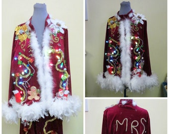 4889ae44fde5a Sexy Mrs. Claus Tacky Ugly Christmas Sweater foo foo Feather Boas trim
