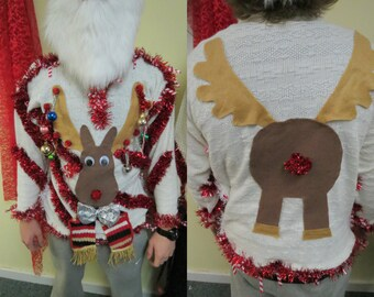 homemade custom 3 d hysterical reindeer tacky ugly christmas sweater wild garland light up mens womens long sleeve - Homemade Tacky Christmas Sweaters