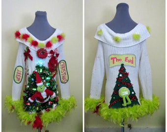 9bbc9d2ffe8 Hysterical Double sided Tacky Ugly Christmas Sweater Light Up