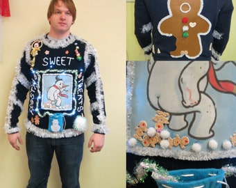 made to order funny frostys sweet treats tacky ugly christmas sweater light up mens womens frozen gingerbread men snowball treats poop - Funny Ugly Christmas Sweaters For Sale