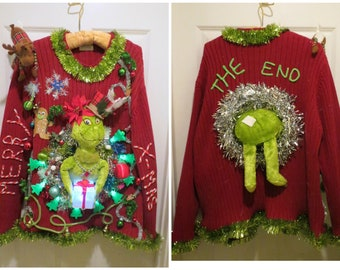f5085ad6d77c Hysterical Double sided Tacky Ugly Christmas Sweater Light Up