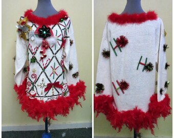 c3c5a9cf102 Glam Bedazzed Tacky Ugly Christmas Sweater Light UP Bowtie   bow Oversize Sz  M foofoo Mini Dress Heavily Beaded Ready to SHIP