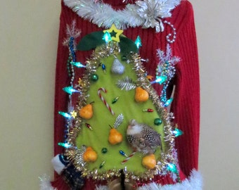 """Made to order  Hilarious Partridge in a """"Pear"""" Tree Tacky Ugly Christmas Sweater Light UP  Womens Garland, Pears"""