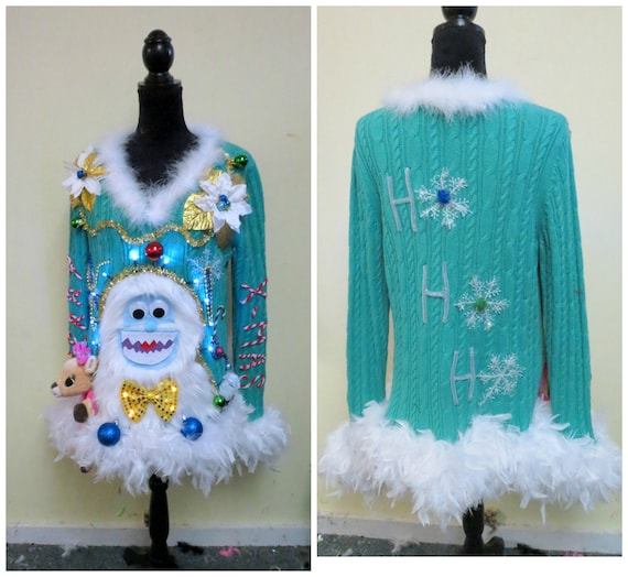 Yeti Abominable Snowman Sweater Light UP Sweater, Tacky Ugly Christmas Sweater, light up Sweater, Fun Sweater, Feather Boa Trim