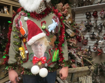 Made to order limited edition Hysterically Funny Santa Trump Tacky Ugly Christmas Sweater Light UP Merry X-mas Feliz Navidad Faux Fur Hair