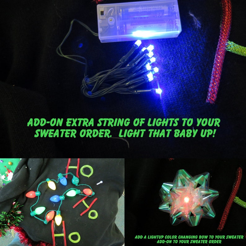 e6bece01cdf Add on Extra Lights to any sweater you purchase from us LED