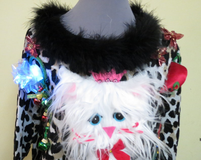 Darling & Cute Fuzzy Furry Kitty Cat Tacky Ugly Christmas image 3