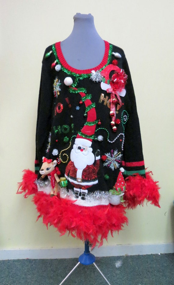Ugly Christmas Dress.Santa Dress 3 D Tacky Ugly Christmas Sweater Clarice And Santa Light Up Bow Red Feather Foo Foo Garland 3x Womens Sweater Dress