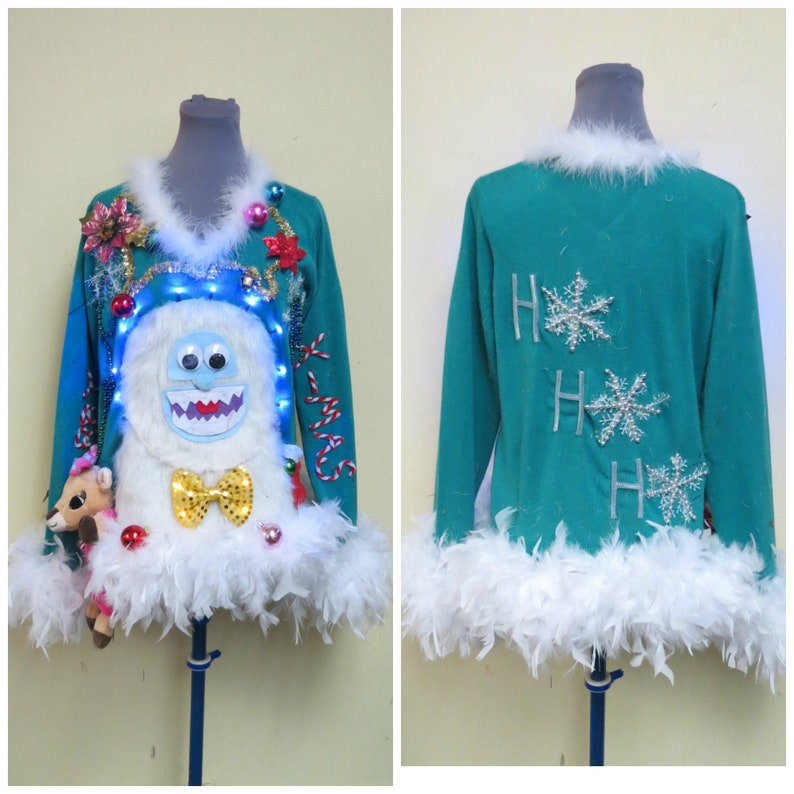 a18bd09067ff Yeti Abominable Snowman Sweater Light UP Sweater Tacky Ugly