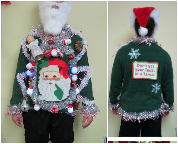 Mens Ugly Christmas Sweater Musical Snowman Lights Etsy
