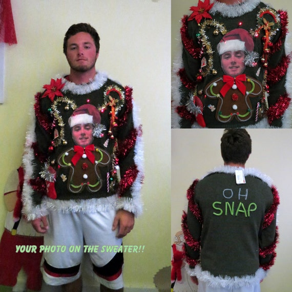 Custom Your Photo Sweater Light Up Tacky Ugly Christmas Etsy