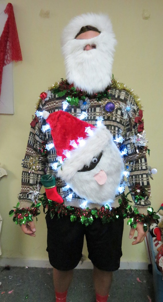 Black Santa Tacky Ugly Christmas Sweater Light Up Sweater Made To Order Festive Fun Frock Led Lights Light Up Sweater Santa Sweater