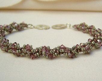 Bracelet with Swarovski Crystals - Rose and Silver-Grey