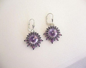 """Swarovski earrings """"Sari"""" in lilac and anthracite"""