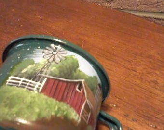 Rustic hand painted small green spotted tin cup