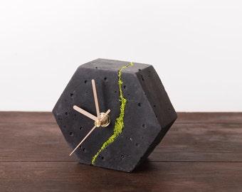 Cracked concrete hexagonal desk clock with Scandinavian moss, Dark concrete clock, Home decoration