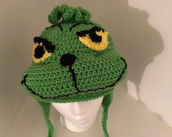 f4cc0d00256 Crocheted Grinch Inspired Flap Hat-QI105