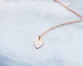 Dainty Leaf Necklace, Rose Gold Leaf Necklace, Gold Leaf Necklace, Sterling Silver Leaf Necklace