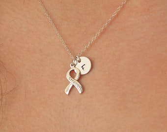 """Sterling Silver """"STRENGTH"""" RIBBON Necklace • Breast Cancer Awareness Ribbon • Sterling Silver Initial Necklace • Breast Cancer Strength Gift"""