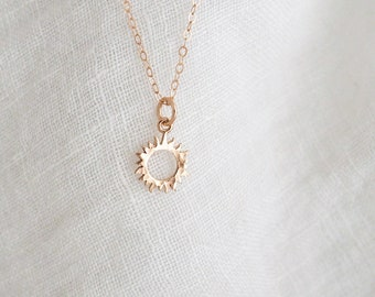 Tiny HAMMERED SUN Necklace in Sterling Silver, Gold Vermeil, Rose Gold Vermeil • You Are My Sunshine Necklace • Layering Necklace