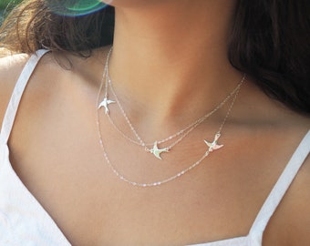 FLYING BIRDS Necklace in Sterling Silver, Gold Filled, Rose Gold Vermeil • Three Birds Necklace • Layered Necklace Set • Mothers Gift