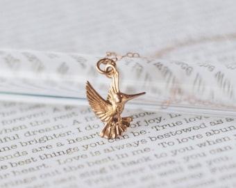 Rose Gold HUMMINGBIRD Necklace • Rose Gold Bird Necklace • Gift for Her • Hummingbird Lover Gift • Bird Necklace Gift