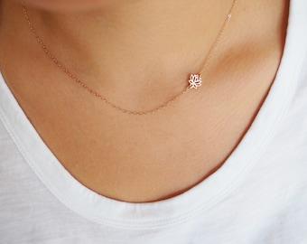 Rose Gold SIDEWAYS LOTUS Necklace • Rose Gold Lotus Necklace • Dainty Rose Gold Necklace • Dainty Lotus Necklace