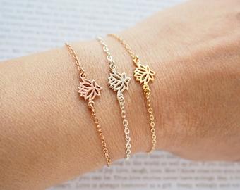 Lotus Bracelet, Rose Gold Lotus Bracelet, Gold Lotus Bracelet, Sterling Silver Lotus Bracelet, Zen Bracelet