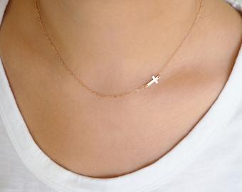 Rose Gold CROSS Necklace • Sideways Cross Necklace • Rose Gold Necklace • Dainty Rose Gold Necklace