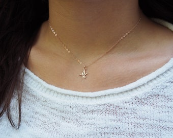Tiny HUMMINGBIRD Necklace in Sterling Silver, Gold or Rose Gold • Layering Necklace • Rose Gold Hummingbird Necklace • Gift for Her