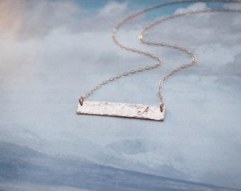 Rose Gold Bar Necklace, Hammered Bar Necklace, Rose Gold Initial Necklace, All Rose Gold Filled