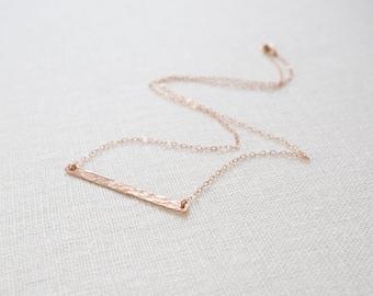 Delicate Rose Gold Bar Necklace, Hammered Bar Necklace, All Rose Gold Filled