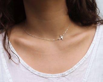 SIDEWAYS BIRD Necklace in Sterling Silver, Gold or Rose Gold • Delicate Bird Necklace • Birds Lover Gift